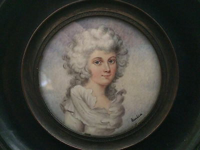 French Miniature Potrait of a Beautiful Woman Signed in Original Frame