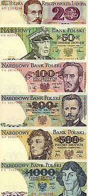 POLAND Europe Set of 6 UNC banknotes 20,50,100,200,500,1000 Zlotych 1982-1988