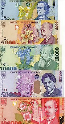 ROMANIA Europe Set of 5 UNC banknotes 1000,5000,10000,50000,100000 Lei 1998-2000