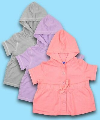 BNWT Girls Short Sleeved Cropped Hoodie ideal for Beach Cover Up Ages 3 to 8 yrs