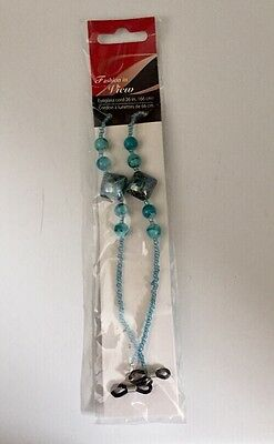 Gorgeous Aqua and Light Blue  Glass Beaded Eyeglass Chain Holder Cord