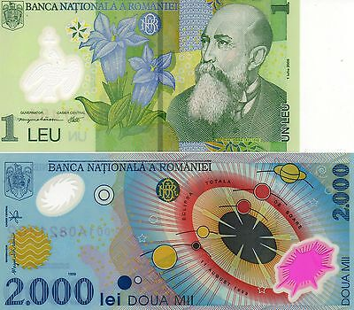 ROMANIA Europe pair of 2 UNC polymer banknotes 1 & 2000 Lei 2000-2005