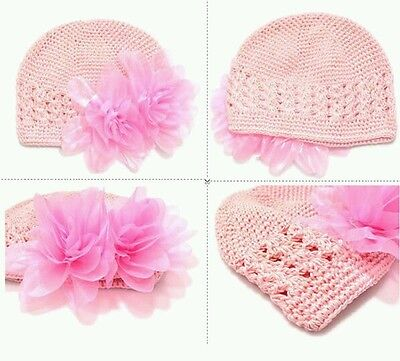 Baby Pink Crochet Beanie Kufi Hat Cap Toddler 3-12 Months, Photos Christening
