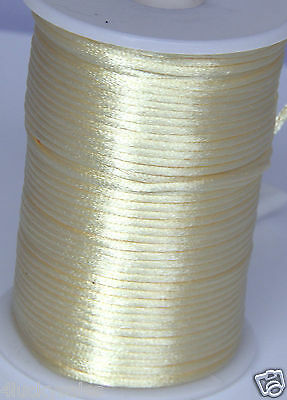 10yd Cream-colored2MM Rattail Satin Cord Macrame Beading Nylon Chinese knot rope