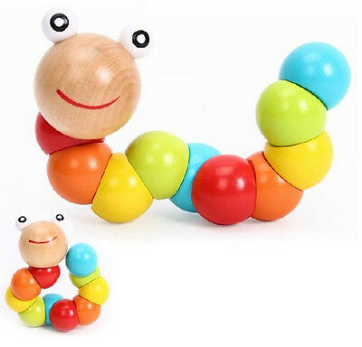 Cute Baby Kids Twist The caterpillar Wooden Toys Infant Creative Educational Toy