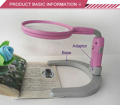 2X 4X Pink Helping Hand Bench Magnifier Desktop Magnifier for Reading