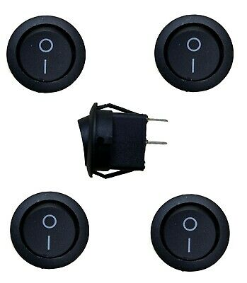 5 X Rocker Switches 12V Round 2 Pin On Off 12 Volt Car Snap In Switch