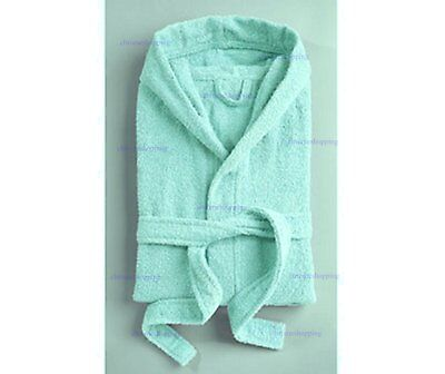 Boys & Girls Mint Green / Blue Dressing Gown 100% Cotton Swimming/Bath Robe 7/8