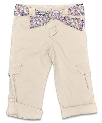 Bnwt Girls Vintage Bloom Cream Cotton Cargo's With Adj Length - Ages 2 - 5 Years