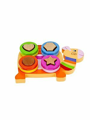 Baby Toddler Kids Wooden Stacker Ring Colour Shape Puzzle Toy Boy Girl Gift