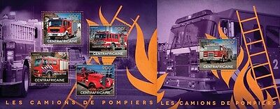 CA14515ab Central Africa 2014 Fire engines MNH SET **