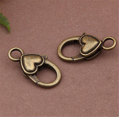 PJ243 5pcs Antique Bronze Love Heart Large LOBSTER CLAW CLASPS 14x27mm