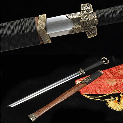 Sharp 1060 Carbon Steel  Rose Wood Handmade Chinese 环首刀 Sword