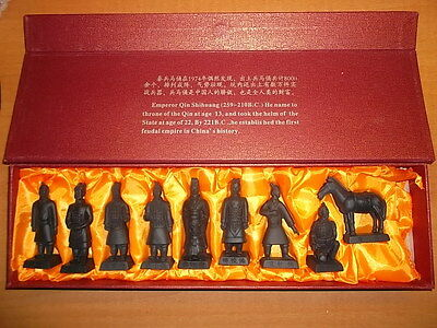Chinese Xian Terracotta Warriors Army with Horse 9 pc Set Statues Gift Set
