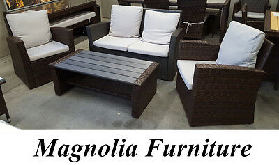 RATTAN OUTDOOR aluminium frame POLY WOOD LOUNGE SET WICKER 4pc FURNITURE