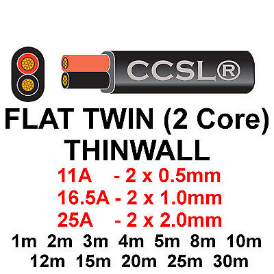 2 Core Twin Thinwall Red/Black 12V Auto Automotive Marine Cable Wire Wiring Loom