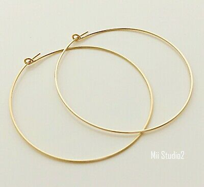 4x 45mm 14k ROSE gold filled round beading hoop earring ear wire earwire E18rg