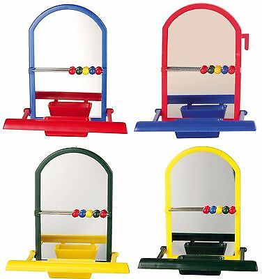 Trixie Landing Mirror & Perch with Bowl & Play Beads Bird Cage Budgie Toy 5225
