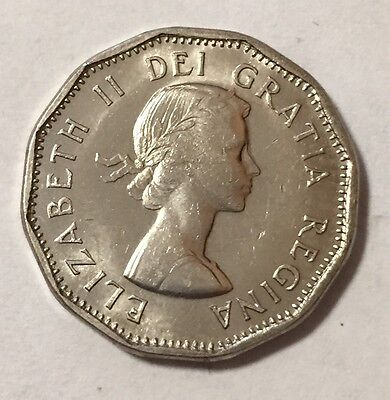 1960 UNC MS BU Uncirculated Canada 5 Five Cent Coin Canadian Cents