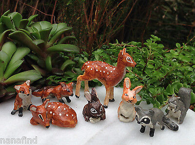 Miniature Dollhouse FAIRY GARDEN ~ Forest Animal Friends Set of 8 ~ NEW