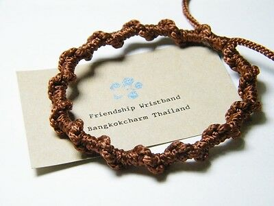 Authentic Thai Blessed Buddhist Wristband Fair Trade Wristwear Brown