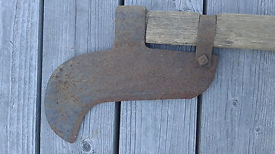 Antique Hand forged brush hook, great grandfather's, straight handle,