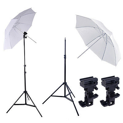 "2x Photo Studio Flash 33"" Soft White Umbrella & 2.1m Light Stand & Bracket B Kit"