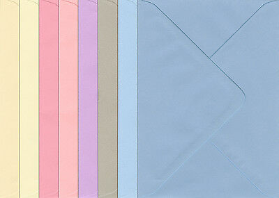C6 Greetings Card Envelopes 120mic Pastel Colours Cream Pink Blue Lilac Grey