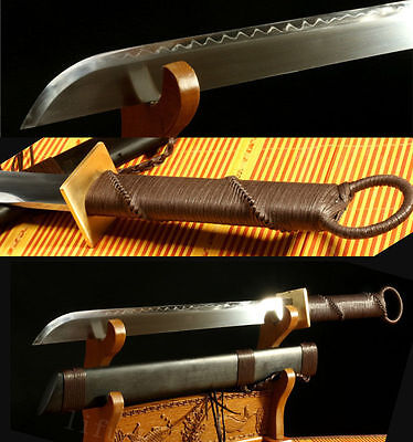 Handmade Sharp 1095 Carbon Steel Clay Tempered Full Tang Blade Chinese Sword