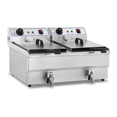 STAINLESS STEEL PROFESSIONAL 2x13 L LITRE DEEP FAT CHIP FRYER KITCHEN DRAIN NEW