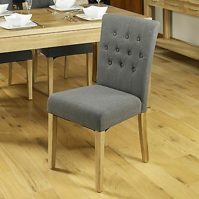 Conran solid oak furniture set of four flare back grey dining chairs