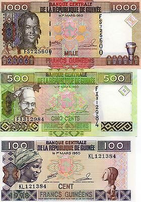 GUINEA Africa Set of 3 UNC 100 500 1000 Francs 1998 2006