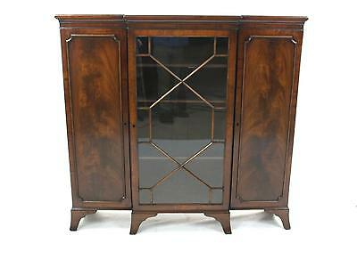 Antique Mahogany Astragal Glazed Breakfront Bookcase Display Cabinet Cupboard