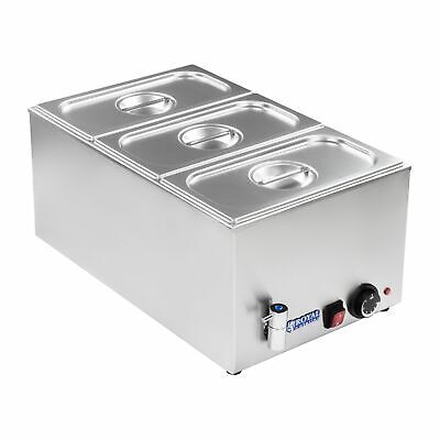 3 Pan Wet Well Bain Marie Food Warmer Holder With 1/3 Gn Containers+ Lids +Drain
