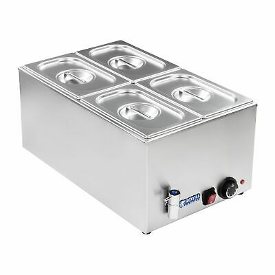 Bain Marie Stainless Steel Electric 4 Pot Wet Well Hot Food Display With Lids