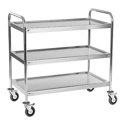 3 Tier Stainless Steel Catering Serving Trolley Cart Ball Bear Wheels 150 Kg New