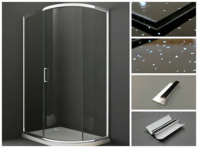 Black Sparkle Waterproof Bathroom Shower Cladding Wall Kit 2m Coverage