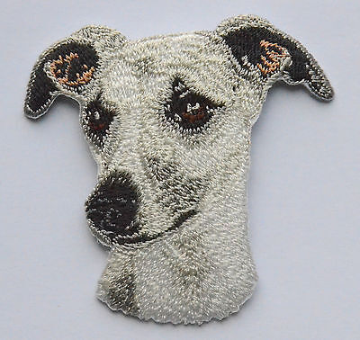 Whippet Head Embroidered Motif Iron/Sew On Patch Badge Embroidery Dog Greyhound