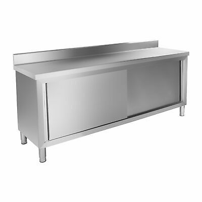 STAINLESS STEEL CABINET ENCLOSED WORK TABLE SLIDING DOORS 200 x 60 CM BACKSPLASH