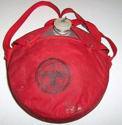 Vintage Official Boy Scouts Of America Canteen With Nylon Shoulder Bag