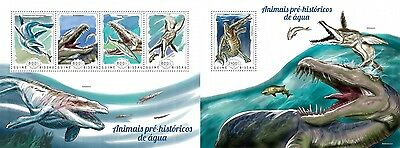 GB14711ab Guinea-BISSAU 2014 Water dinosaurs Dinosaurier MNH SET **