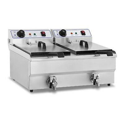 STAINLESS STEEL PROFESSIONAL 2x16 L LITRE DEEP FAT CHIP FRYER KITCHEN DRAIN NEW