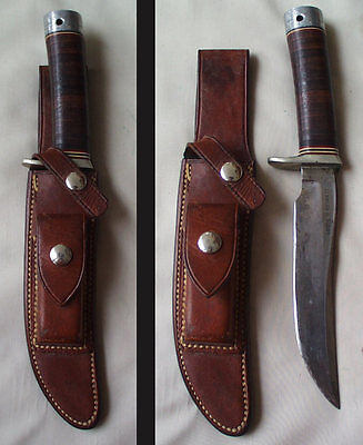 NAMED well used Randall Model 3 - 6 with Stacked Leather Handle