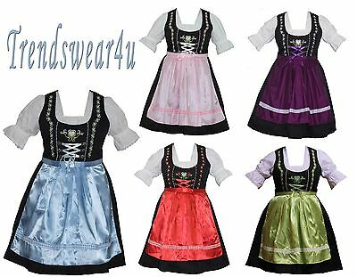 DIRNDL German Oktoberfest Women Party Embroidery Dress Trachten Bavarian 3 Piece