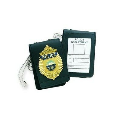 New Authentic Strong Leather Universal Badge & ID Holder Black 71520-0002