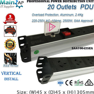 20 Outlets 20 Ways Power Rail Board Pdu Vertical Server Rack Mount 3Y Warranty
