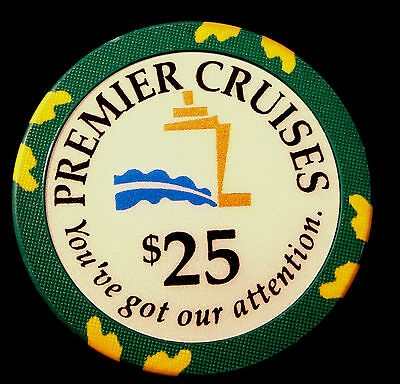 Premier Cruises - THE BIG RED BOAT - Cruise Line $25 Casino Chip - MINT - RARE -