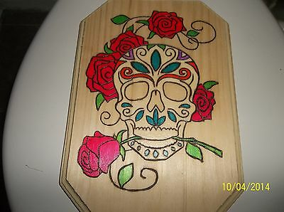 """9""""x 6"""" Wood burned and hand painted Skull and Roses wood plaque"""