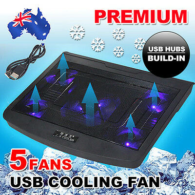 5 Fans Blue LED Stand Cooler For USB Laptop Cooling Pad Table Notebook 10-17""