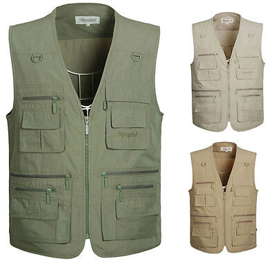 Multi-Pockets Photography Fishing Vest Outdoor Hunting Travel Jacket Plus Size